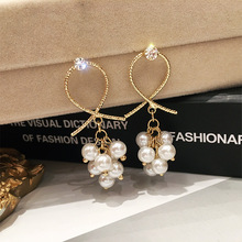 baroque bohemia retro drop coin  pearl female Korean long fashion pop ear crystal hoop earrings