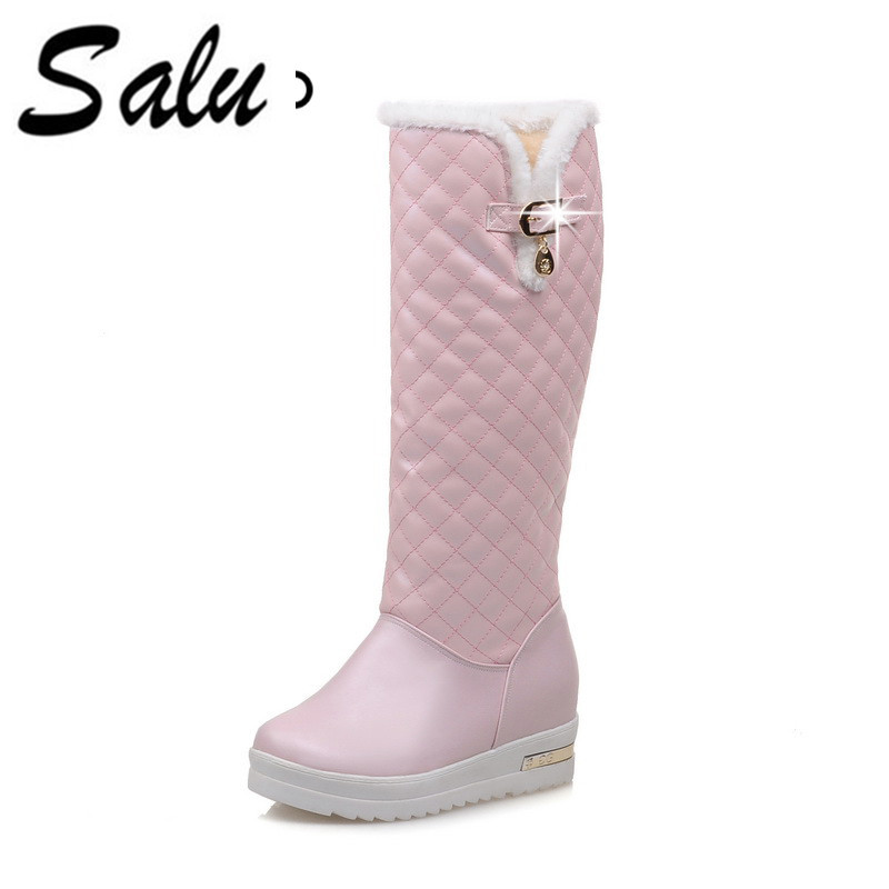Salu Mid Calf Boots Platform strap Slip On Flats Casual Women Flock Rubber Shoes 2018 Winter Women Snow Boots Warm Antieskid women shoes wedges platform knee high boots winter snow booties slip on flock rubber women boots black plush warm soft shoes