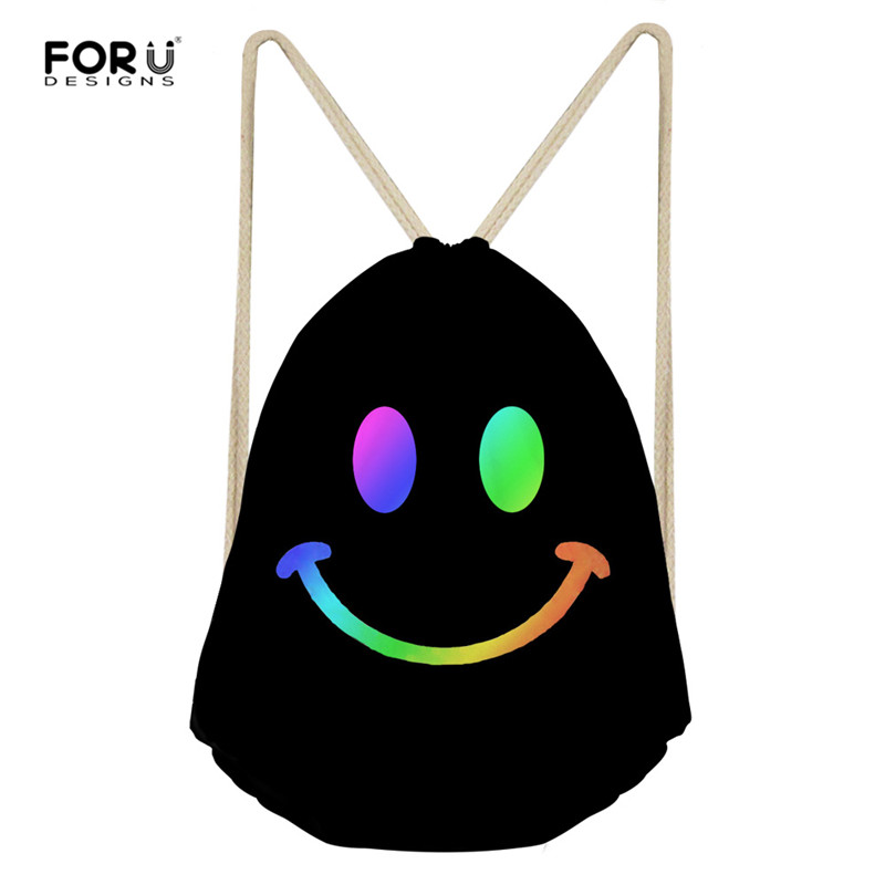 FORUDESIGNS Smile Face Drawstring Bag Women's Backpack Beach Women Men Travel Storage Package Teenagers Backpack Sac Femme