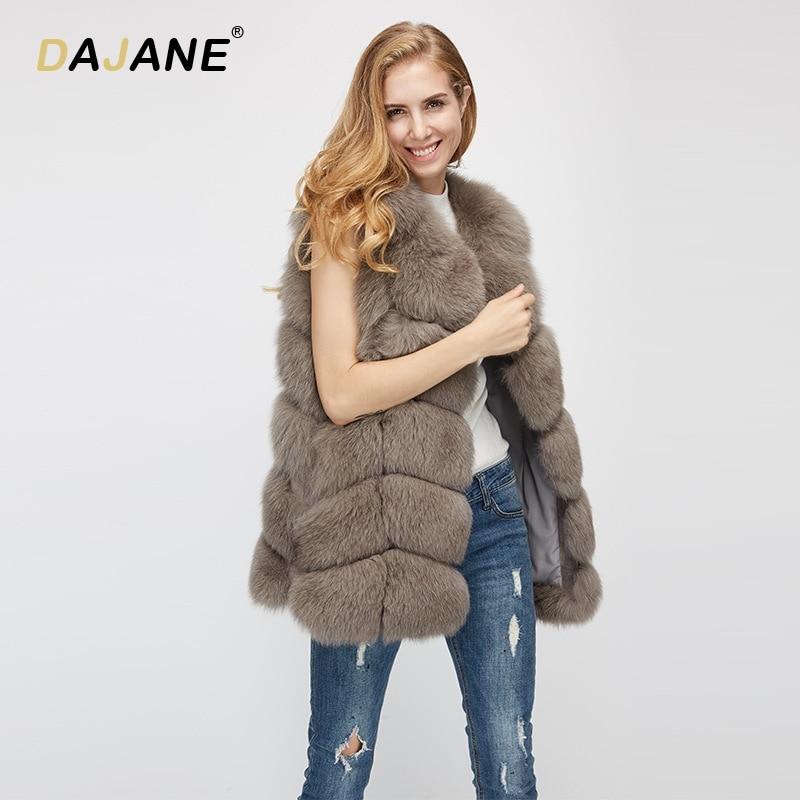 DAJANE Новинка зимы первые пять после шести вся кожа Лисий мех жилет Женский шею длинным Меховая куртка жилет реального пальто с мехом