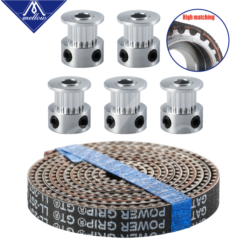 3D Printer Accessories 5pcs 16/20 Teeth GT2 Timing Pulley Synchronous Wheel Bore 5mm And 5M GATES-LL-2GT GT2-6mm GT2 Timing Belt