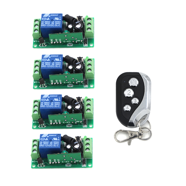 Easy to Carry DC9V 24V Micro Relay Contact Remote Switch Mini RF Button Switch Switching Receiver 4CH Independent new design micro relay contact remote switch mini rf button switch 4ch independent receiver 3 7v 4 2v 4 5v 5v 6v 7 4v 9v 12v