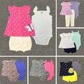Лето bebes девочка картер одежда Соболезнуем пояса набор платья дети новорожденной девочки юбки детская одежда vestido infantil casaco