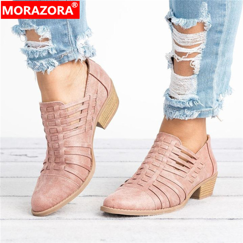 MORAZORA Large Size 43 Women Pumps 2019 Newest Spring Summer Single Shoes Hollow Out Zip Rome High Heels Casual Shoes Woman
