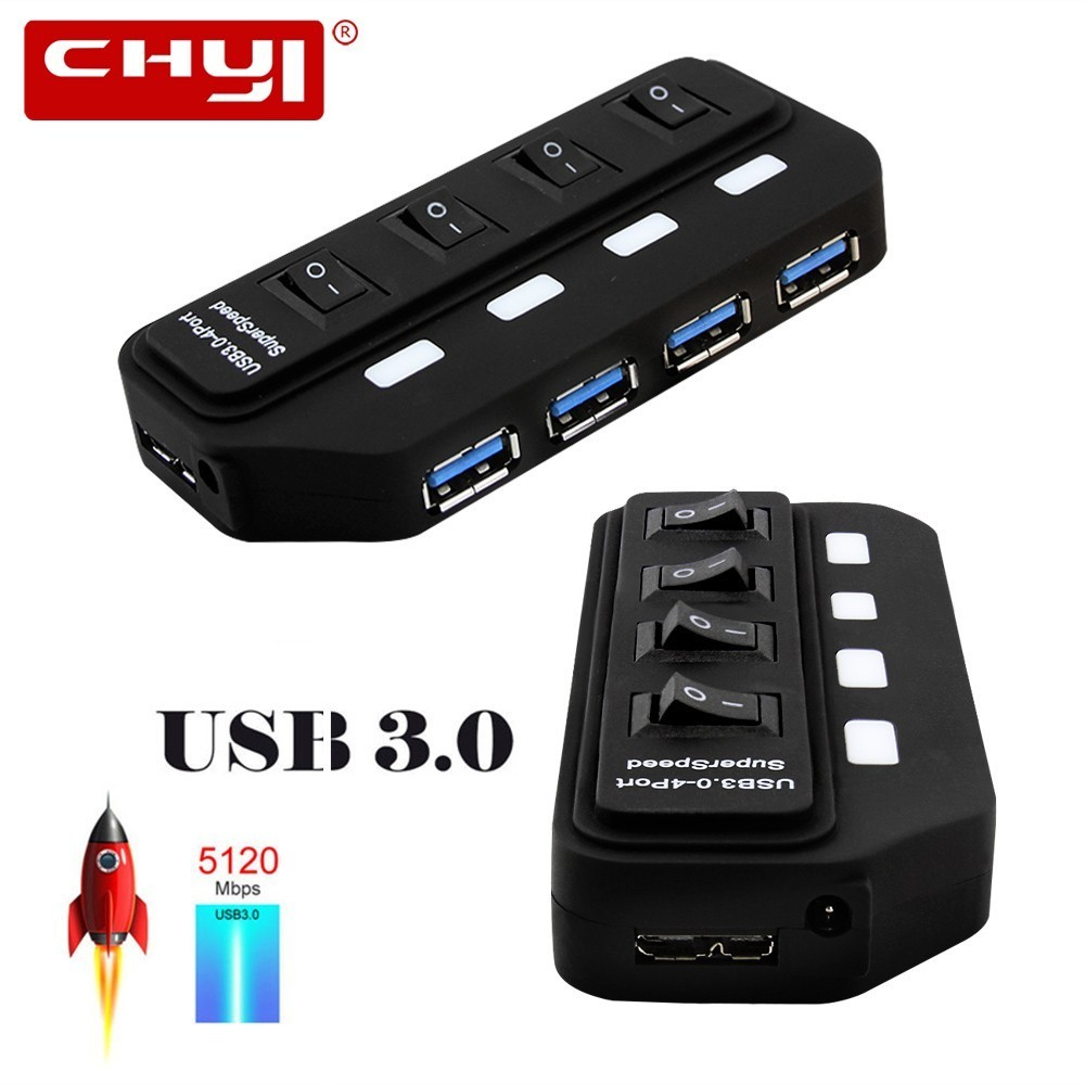 CHYI USB 3.0 HUB USB-A To 4 Port USB3.0 With LED On/Off Switch Extra DC 5V Power Supply USB Splitter Adapter For PC Mouse Tablet woman fashion slim solid knee distrressed maternity wear jeans premama pregnancy prop belly adjustable pants for women c73