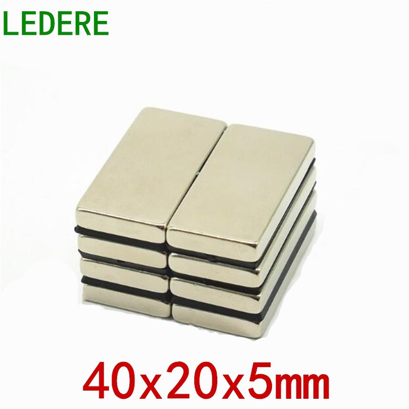 LEDERE1/5pcs 40mm x 20mm x 5mm Super Strong Neodymium magnet Rare Earth N35 Magnet 40*20*5 Nickel magne 40x20x5 NEW magnet metal diy 5 x 5mm cylindrical ndfeb magnet silver 20 pcs page 8