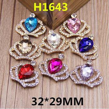 100pcs Free shipping crystal crown tiara flatback alloy buttons metal rhinestone button scrapbooking diy embellishment accessory