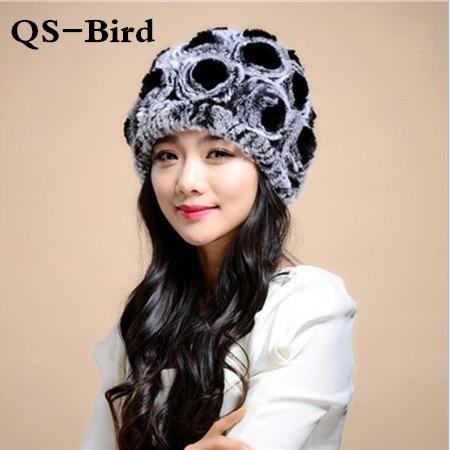 Winter fur hat Rabbit Fur Women Warm fashion Lady Beanie Hat Handmade knitted hat headwear gorro Caps girls fur cap