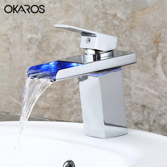 OKAROS Badezimmer LED Wasserhahn Becken Wasserhahn Wasserfall ...
