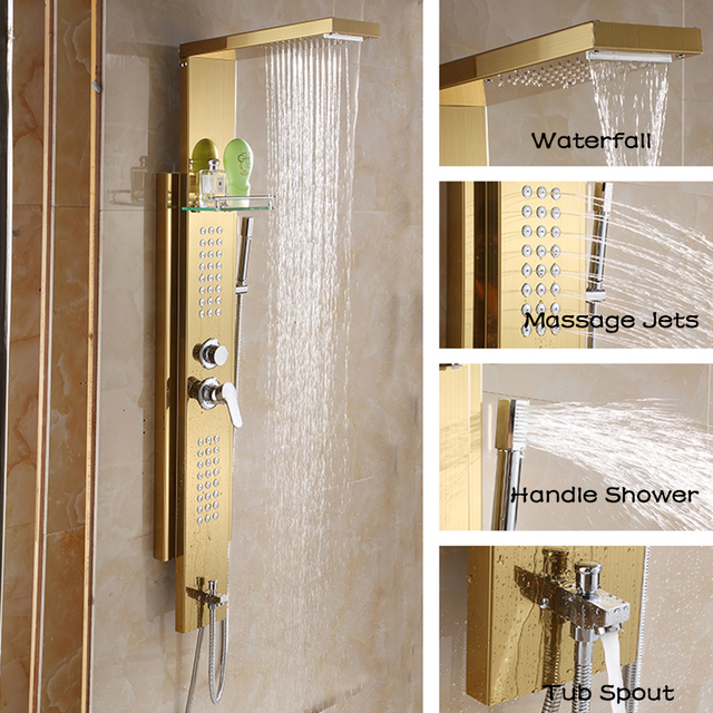 Haliaeetus Wall Mounted Shower Panel Single Handle 5-Functions Bath Shower Column with Body Massage Jets