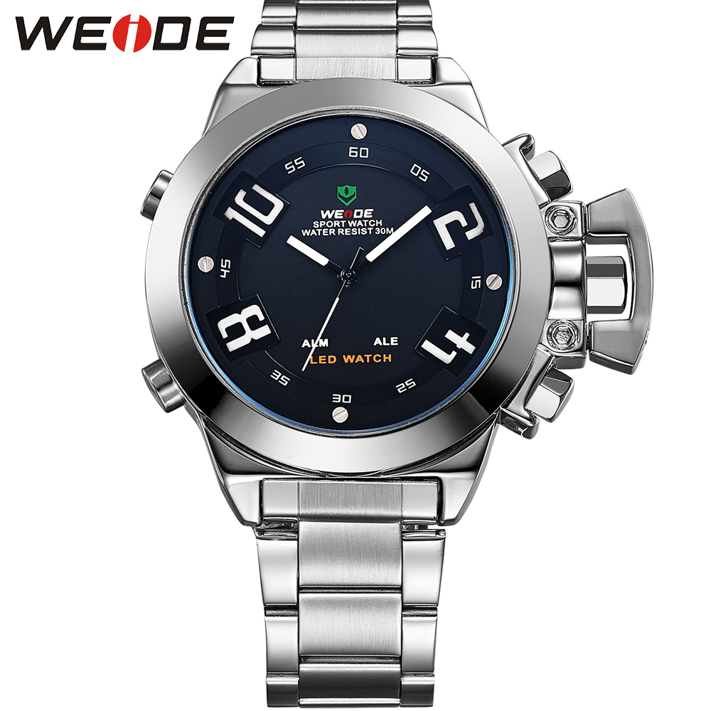 WEIDE Dual Time Zone Digital Analog Watch Men Brand Luxury Stainless Steel Wrist Band Original Multi-Functional Sport Mens Clock 2017 new colorful boys girls students time electronic digital wrist sport watch drop shipping 0307