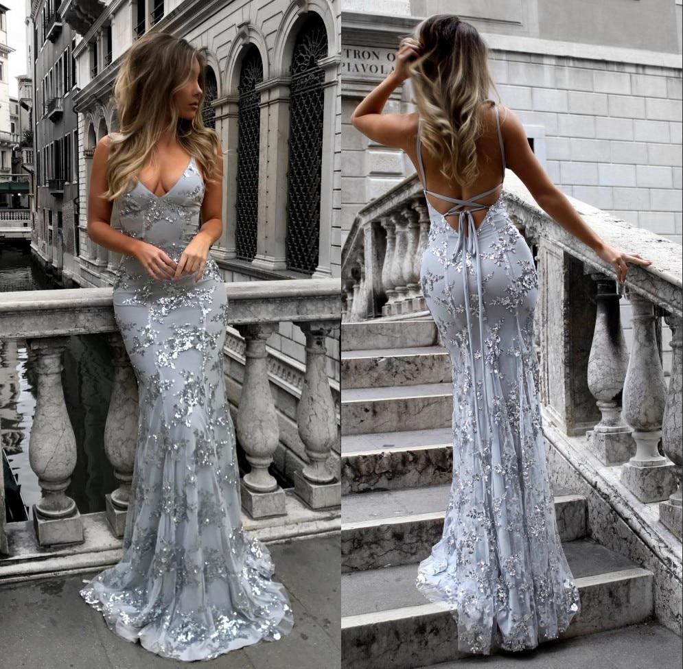 Robe de soiree Sexy Backless Mermaid   Prom     Dress   Shining Lace Vestidos de Graduacion Sweep Train Gala   Dress