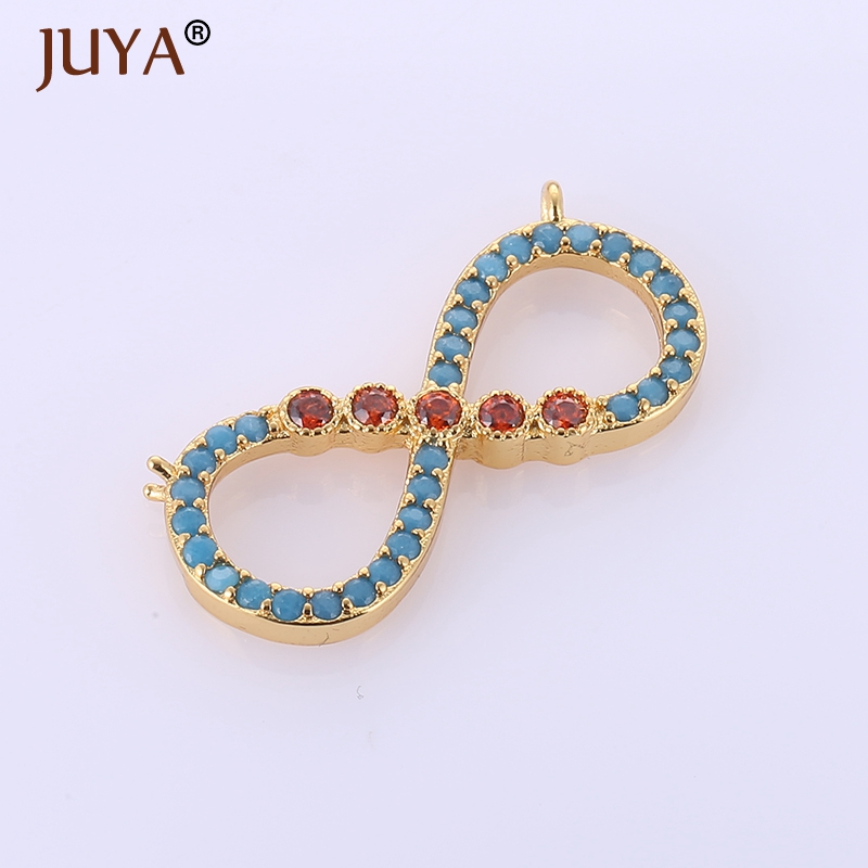 fashion vintage blue pink rhinestone crystal infinity pendants charms jewelry making diy women necklaces jewellery accessories