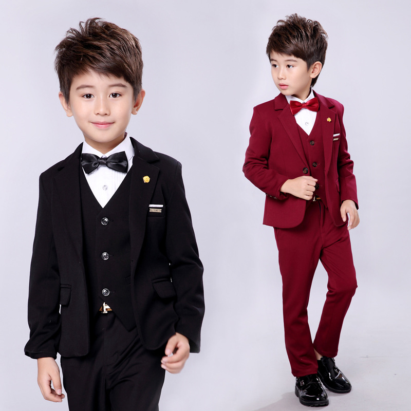 2018 new style solid color children's fashion suit jacket British wind casual boy performance performance dress suit цены