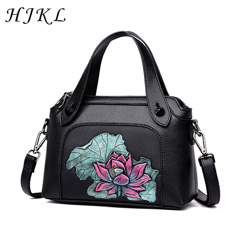 HJKL PU Leather National Crossbody Peony Pattern Handbag Shell Small Embossed Mother's Tote Purse Chinese Style Shoulder Bag