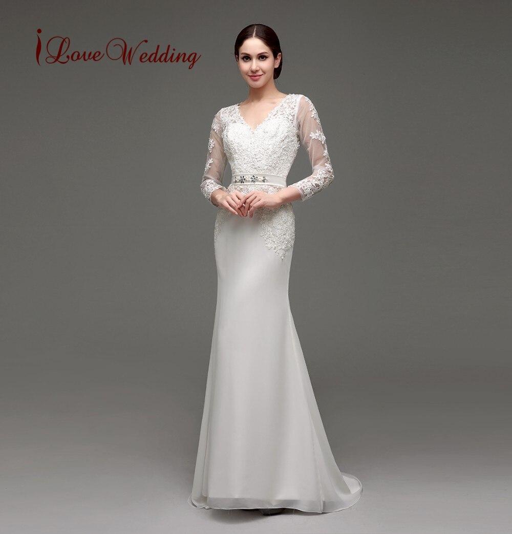 d2001a8032 Elegancka Suknia ślubna Z Długim Rękawem Płaszcza V Dekolt Koronki