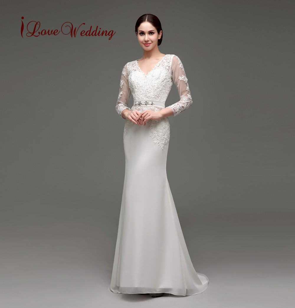 Elegant Two Pieces Lace Arab Wedding Dress Sheath 2017: Elegant Long Sleeve Wedding Dress Sheath V Neckline Lace