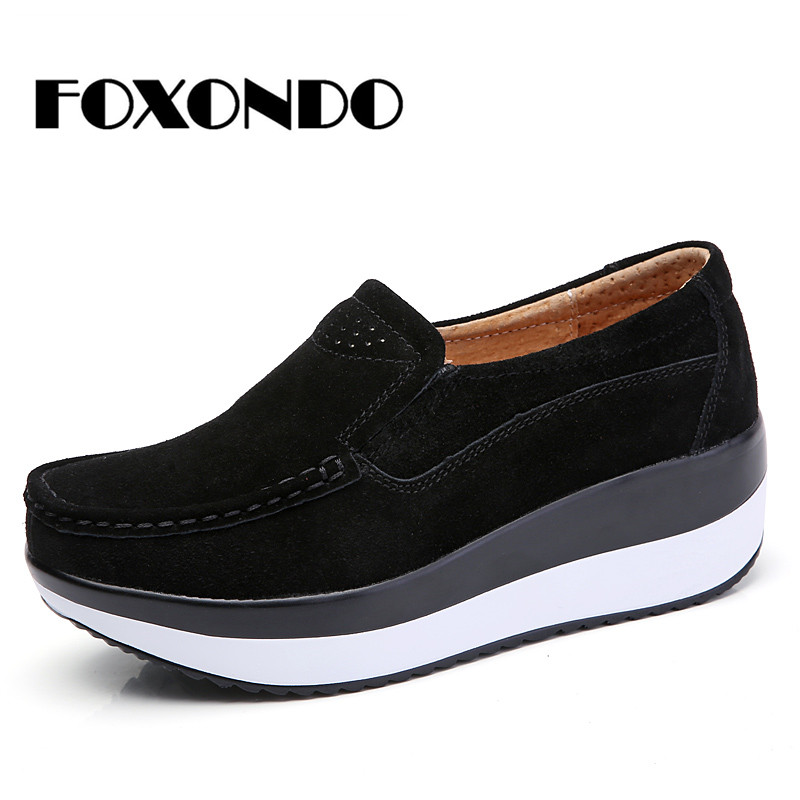 FOXONDO 2018 Autumn women flat platform sneakers   leather     suede   moccasins shoes ladies blue casual oxford shoes slip on flats3213