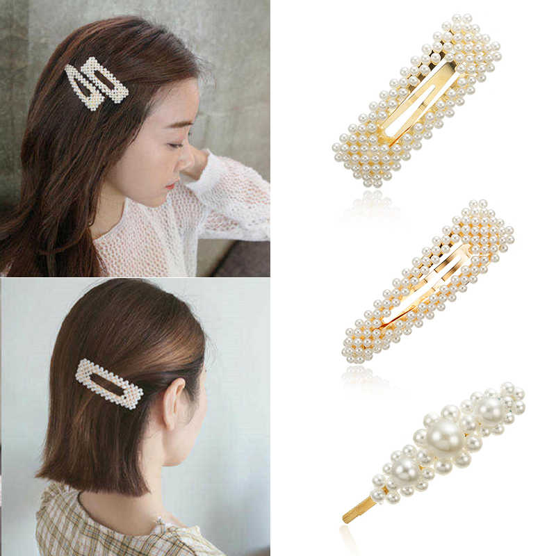 Z1 New Women Pearl Hair Clip Snap Hair Barrette Stick Korean Hairpin Wedding Hair Accessories For Women Girls Hair Pin Jewelry