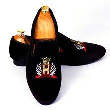 Harpelunde ручной работы emrboidery Мужская обувь черные бархатные Лоферы слипоны Туфли под платье Размеры 7–14