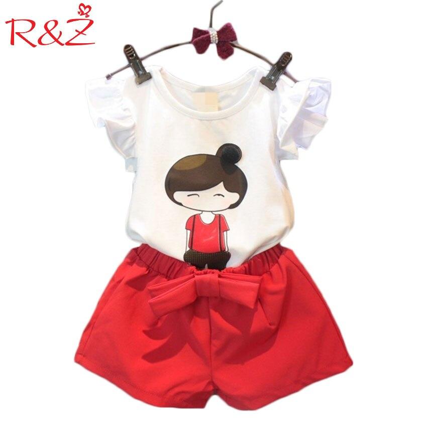 2017 sommer stil baby mädchen kleidung set cartoon t-shirt + hose rock 2 teile / satz kinder kleidung set 2-8 jahre k1