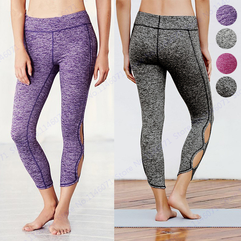 dcd659fad9 Purple Variegated Color Women Yoga Capris Pants Ballet Spirit Running  Tights Infinity Turnout Skinny Leggings Dance Pants Grey