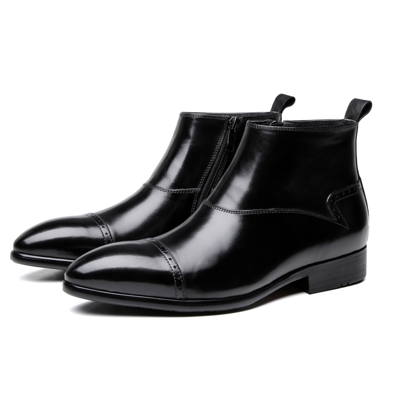 Fashion Pointed Toe Black Chelsea Boots Mens Ankle Boots Genuine Leather Dress Boots Male Business ShoesFashion Pointed Toe Black Chelsea Boots Mens Ankle Boots Genuine Leather Dress Boots Male Business Shoes
