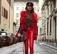 High quality natural luxury fox fur gilet for women 2018 autumn new 5 row horizontal design full pelt slim real fur vests