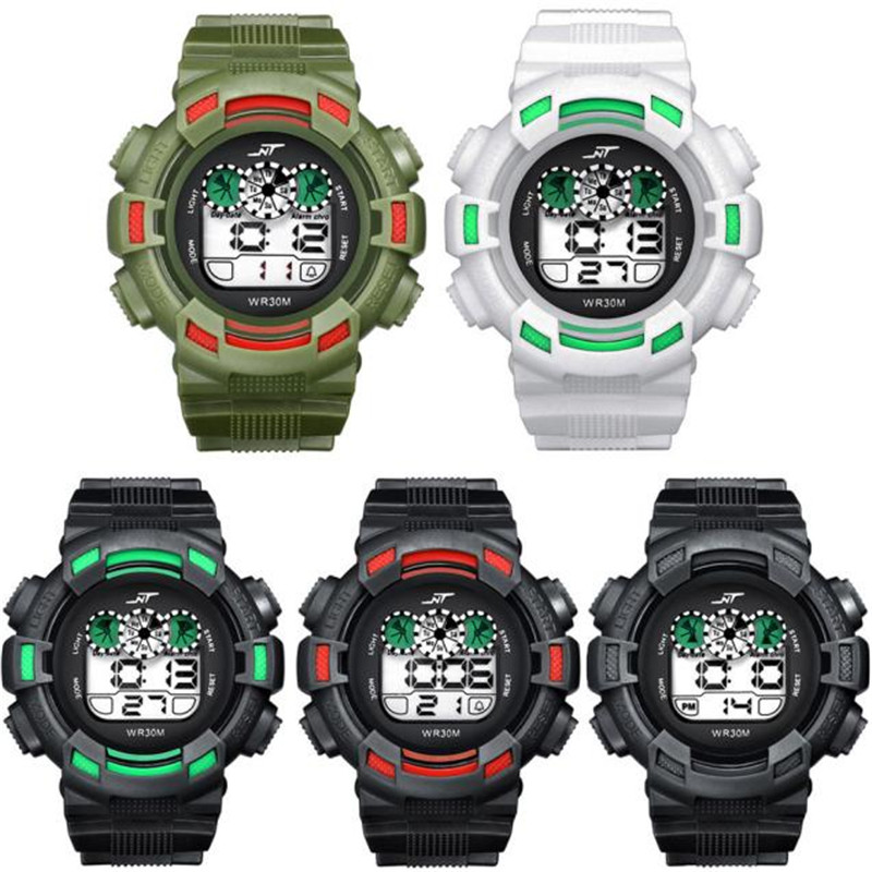 Mens LED Digital Date Alarm Waterproof Rubber Sports Army Watch Wristwatch Brand New High Quality Luxury Free Shipping 0717