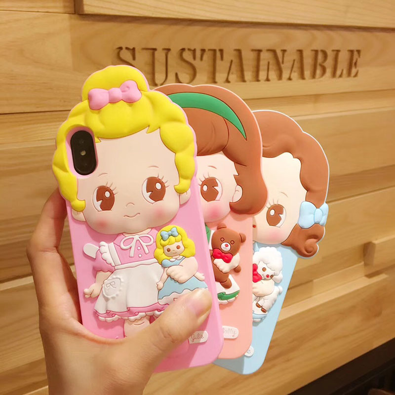 Lovely Cartoon Girl Case for iPhone 8 Plus X 7 6 6s Lovely Doll Mate Phone Back Silicon Cover winnie the pooh iphone case