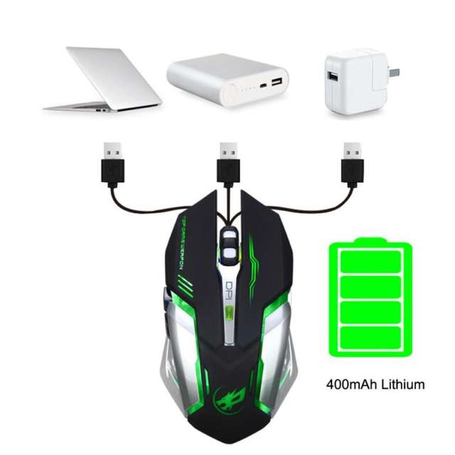 2400 DPI Rechargeable LED Wireless Gaming Mouse