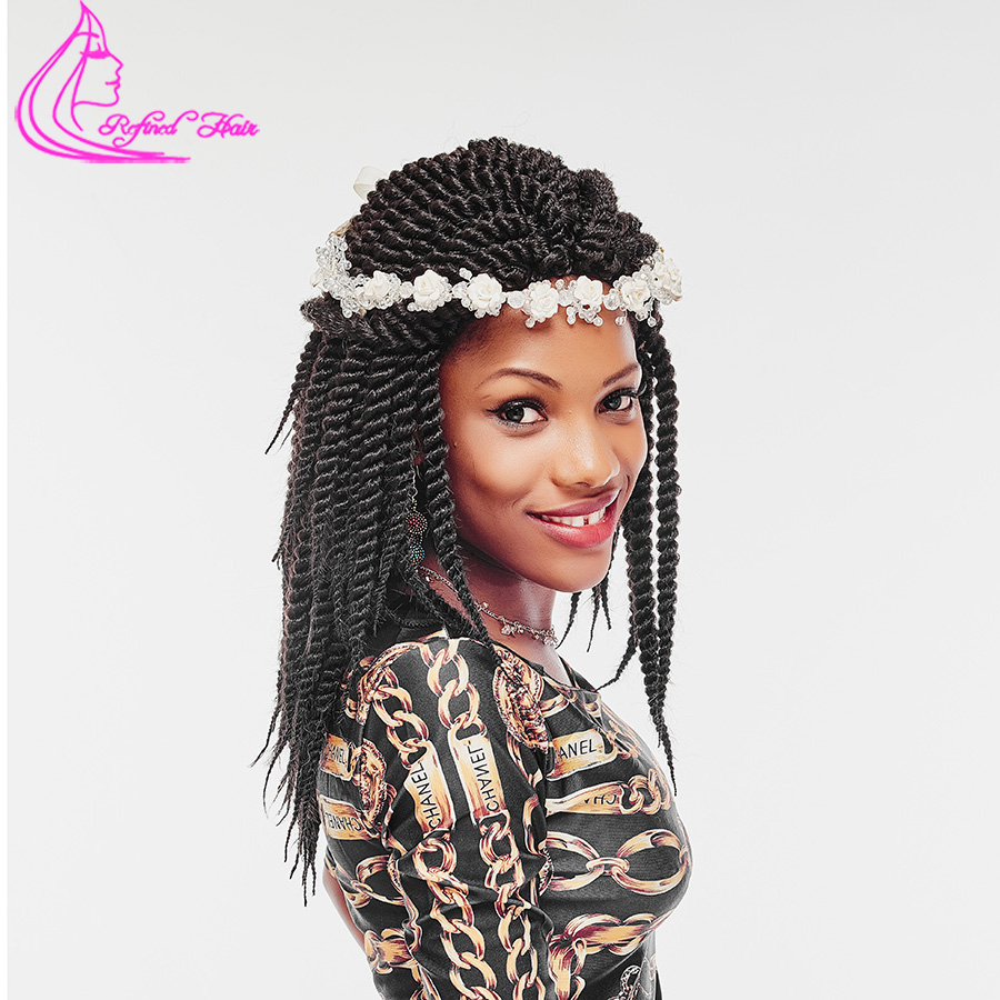 Refined Hair 12inch 12roots Crochet Braids Havana Mambo Twist Kanekalon Synthetic Crochet Braid Braiding Hair Extensions Bulk ...