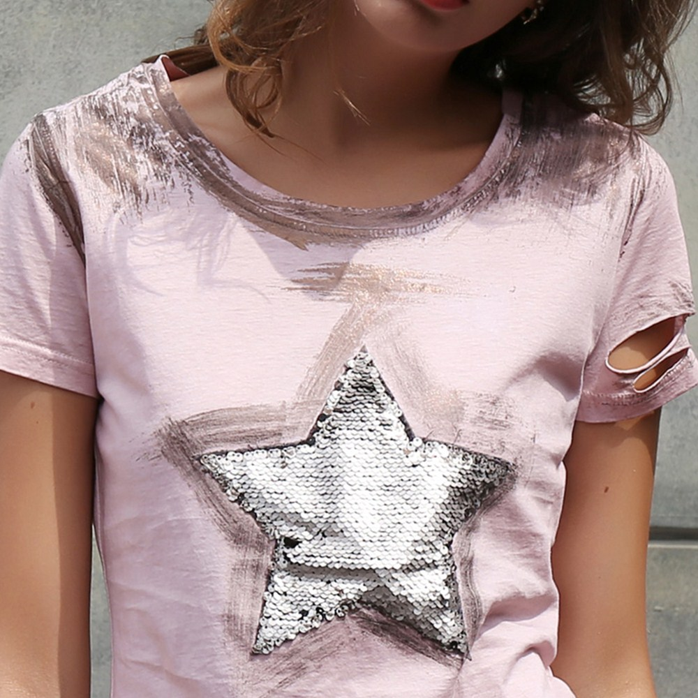 HTB1f4LxQpXXXXXlXXXXq6xXFXXXQ - T shirt women 2017 new star super flash holes pink summer shirt