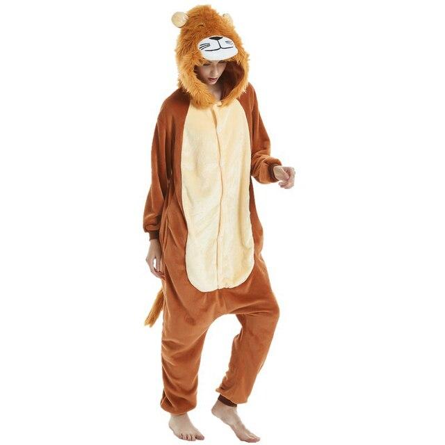 e281a1cb79 Adult Men New Lion Costumes Onesies Sleepwear Winter Sleepwear One piece Cosplay  Pajamas Pyjamas Halloween Party Dress Costume