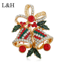 L&H 2018 Elegant Crystal Vintage Christmas Brooches for Women Large Bell Brooch Pin Fashion Dress Coat Accessories Cute Jewelry