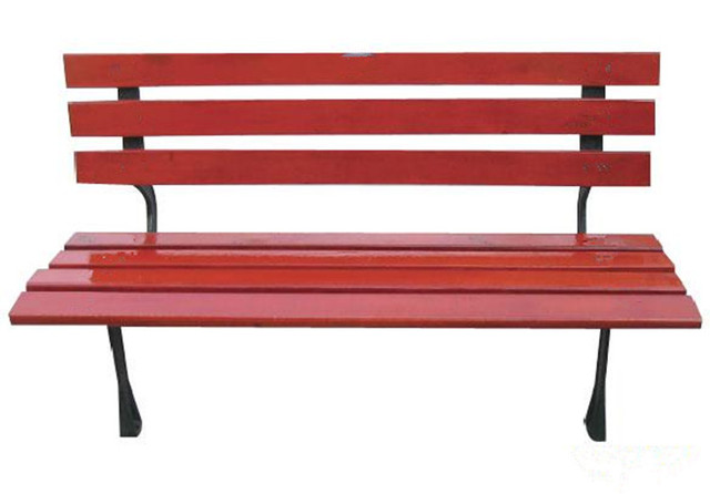 Simple Park Chairs Outdoor Leisure Cast Iron Wood Preservative Bench  Without Armrests Back Garden Small Fresh