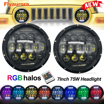 2019 new 75W 7inch Round RGB LED Headlight with High/Low Beam 7 Lights Mode for Jeep Wrangler JK, Off-road Truck Flyaurora