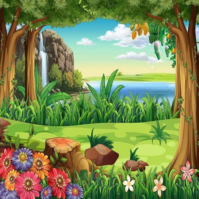 3d Papel De Parede Criancas Dos Desenhos Animados Floresta