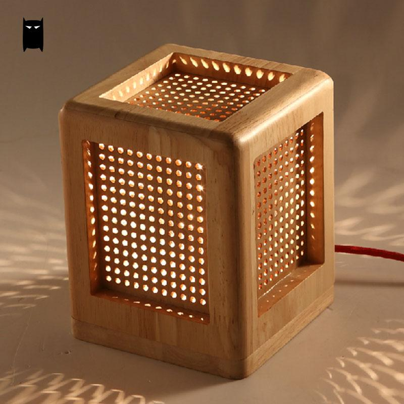 Oak Wood Box Square Table Lamp Fixture Modern Rustic Nordic Korean Asian  Japanese Desk Light Luminaria Bedroom Bedside E27 Base In Table Lamps From  Lights ...