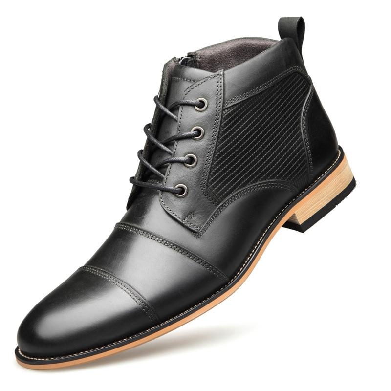 Black brown Mode Printemps Chaussures De On Respirant Npezkgc Véritable D'automne Hommes Britanniques Top Qualité Cuir Botas Bottes Masculins En Slip Hombre 6gf7by