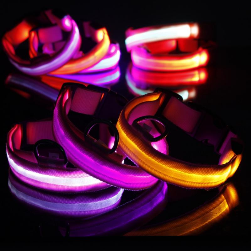 Pet Dog Cat Safety LED Dog Collar Night Flashing Light Glow Pink Nylon Collar S M L XL
