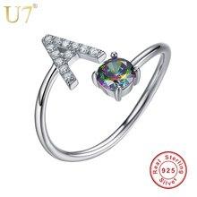 U7 925 anillos de plata esterlina ajustable letra inicial lujo circón personalizada joyería mujeres regalo Día de la madre SC11