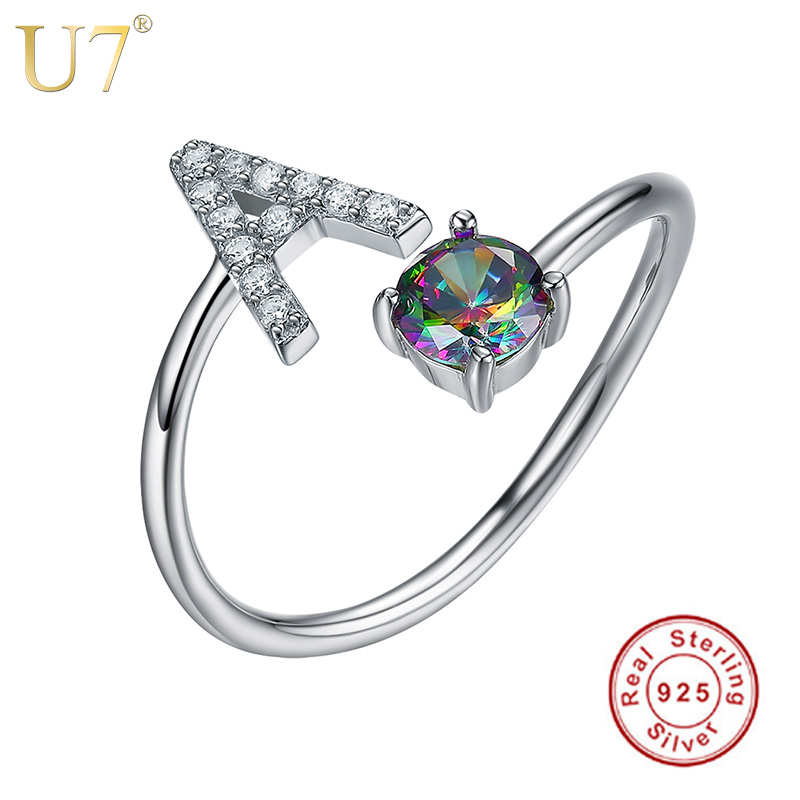 U7 925 Sterling Silver Rings Adjustable Initial Letter Luxury Zircon Personalized Name Jewelry Women Gift Mother's Day SC11