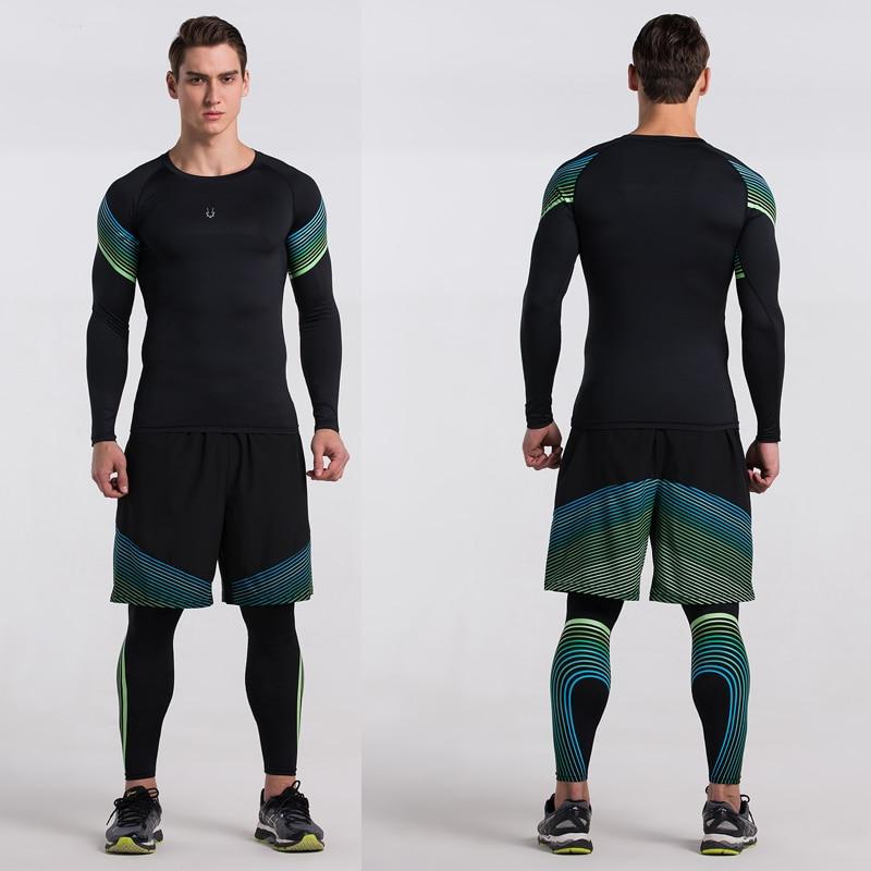 Erkekler Sıkıştırma Gömlek Spor Jogging Yapan Egzersiz Elbise - Erkek Giyim - Fotoğraf 3
