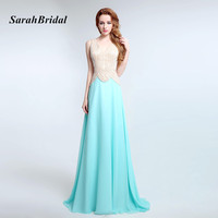 Robe De Soiree Longue V Neck Handmade Beading Long Elegant Prom Dresses Mint Green Chiffon Formal