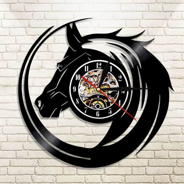 1piece black horse wall clock made from vinyl records modern wall 1piece black horse wall clock made from vinyl records modern wall decor vintage gift ideas for negle Choice Image