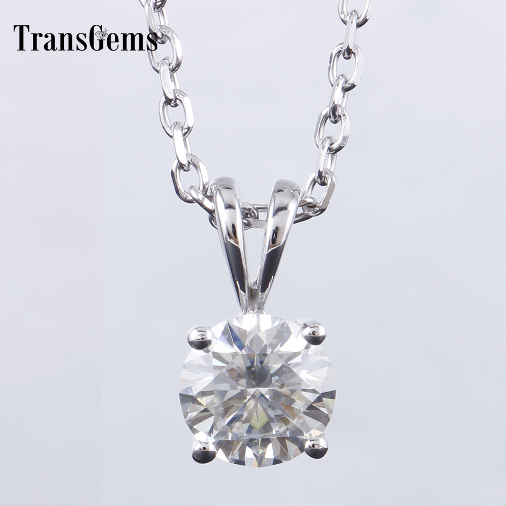 Transgems Solid 14K 585 White Gold 1ct Carat 6.5mm GH Color Moissanite Solitaire Pendant Necklace for Women transgems 18k white gold 0 5 carat 5mm lab grown moissanite diamond solitaire pendant necklace for women jewelry wedding