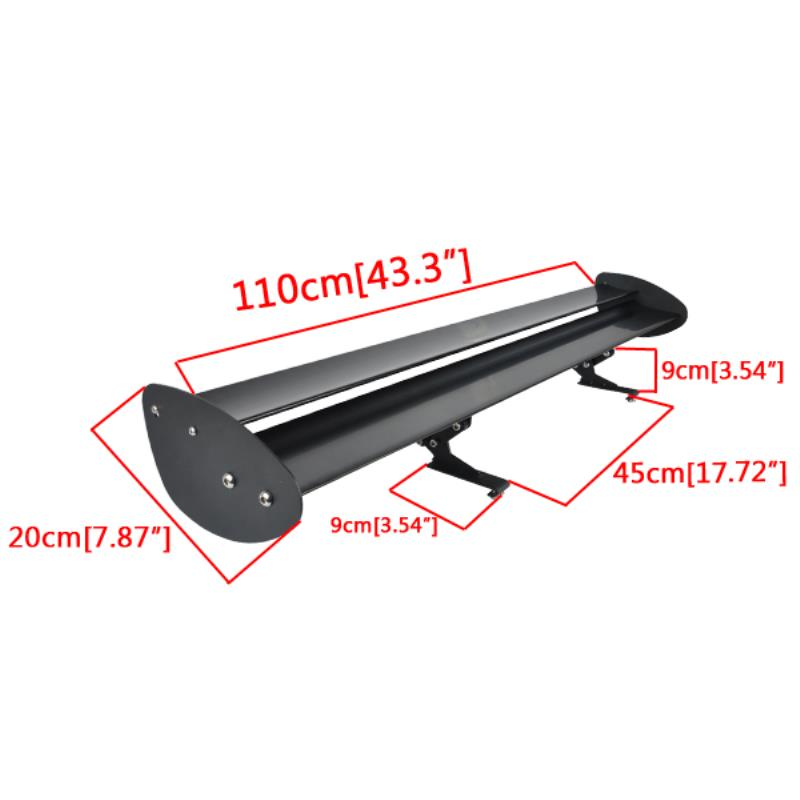 110cm Black Universal Car Double Deck Spoiler Adjustable Auto GT Rear Trunk Wing Racing Spoilers High Quality Aluminum