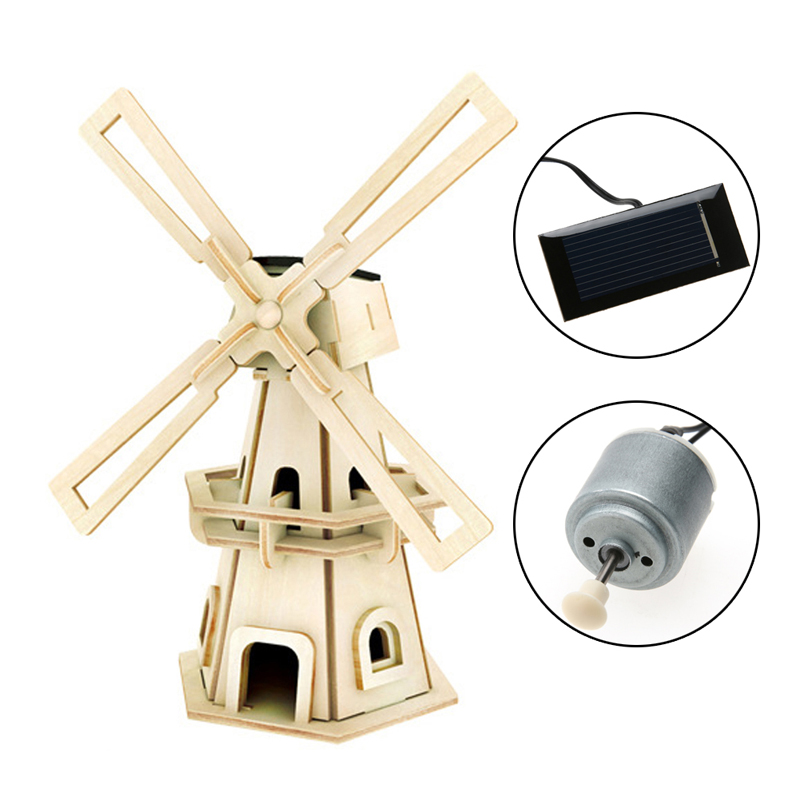 Solar Power DIY Wooden 3D Puzzle Jigsaw Wood Winnower Kits Windmill Puzzle Children Educational Toys Birthday Gift 3d puzzle wooden toy jigsaw for children