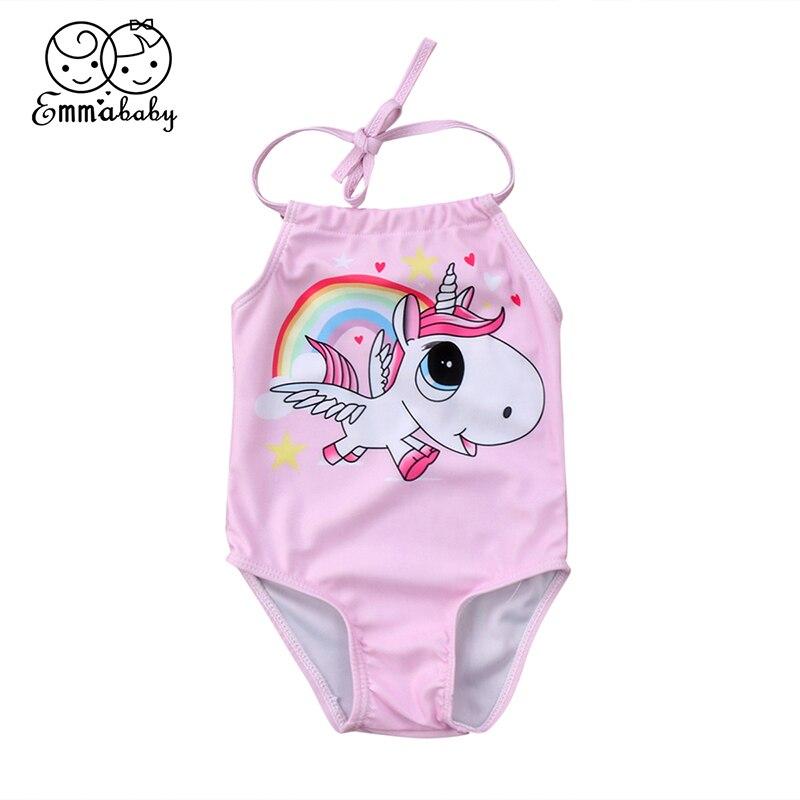 2018 Summer Cute Newborn Baby Unicorn Swimsuit Sleeveless Backless Beachwear Romper Jumpsuit One Pieces Bathing Suit Sunsuit